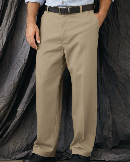 Plain Front Casual Cotton Pant