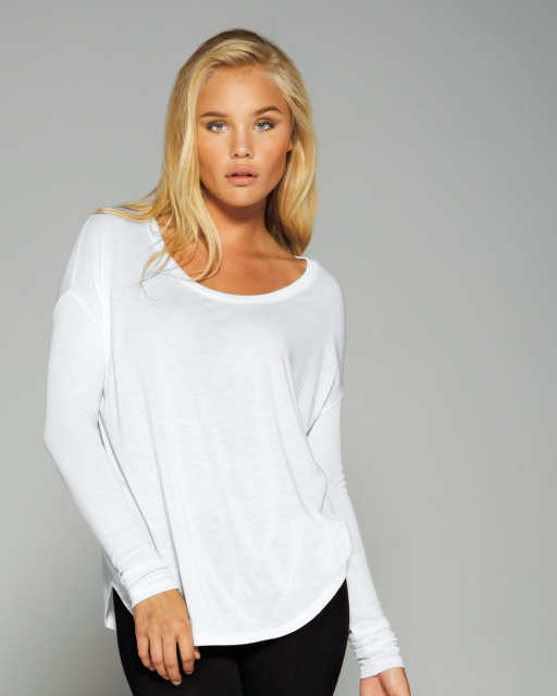 Ladies' Flowy Long Sleeve T-Shirt With 2x1 Rib Sleeves