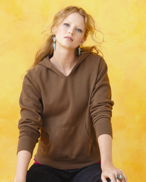 Ladies' Pigment-Dyed Frayed Hooded Pullover