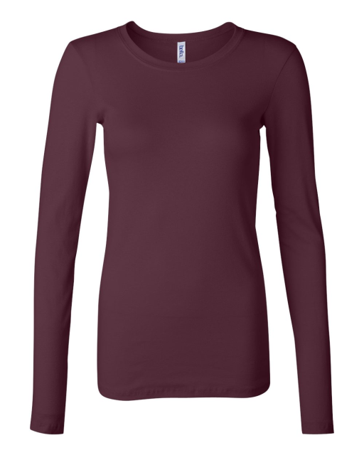 Ladies' Sheer Mini Rib Long Sleeve T-Shirt