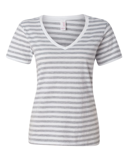 Ladies' Striped V-Neck T-Shirt