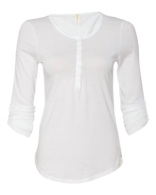 Ladies' Rolled Sleeve Scoopneck Henley