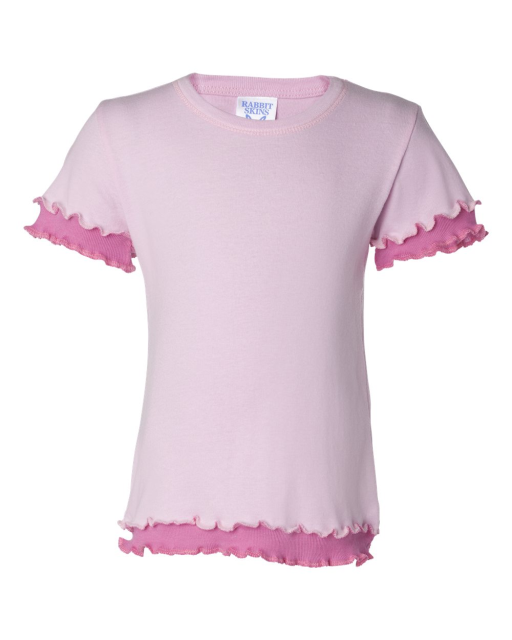Toddler Baby Rib Double Ruffle T-Shirt